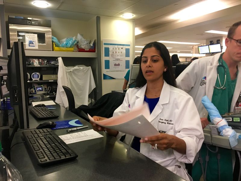Dr. Anar Shah works in the emergency room at Mount Sinai Hospital in Harlem. (Sarah Gonzalez/WNYC)