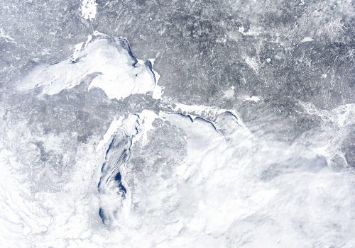 MODIS image of ice cover on Great Lakes. February 16, 2014. NOAA Great Lakes CoastWatch.