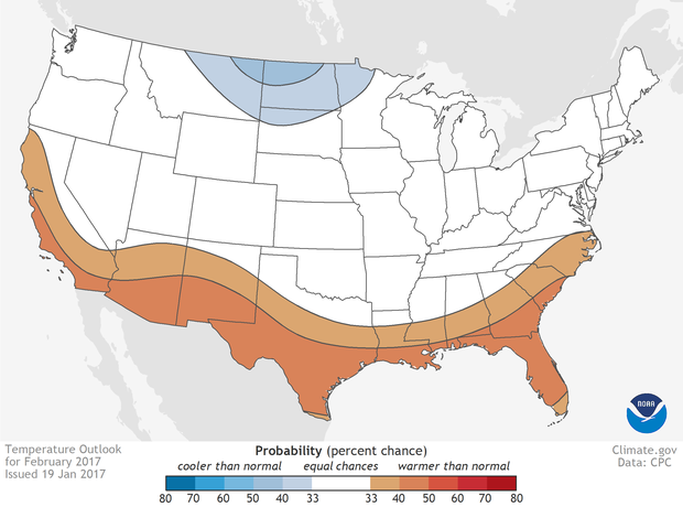 Data Snapshot of February's Temperature Outlook, www.climate.gov.